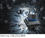 Купить «Padlock on CPU computer circuit board. Lock over the motherboard. Network security concept.», фото № 28272869, снято 23 марта 2019 г. (c) Maksym Yemelyanov / Фотобанк Лори