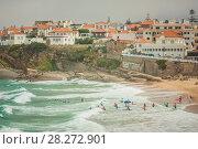 View Of Praia das Macas with group of surfers. Portugal. Стоковое фото, фотограф Сергей Цепек / Фотобанк Лори