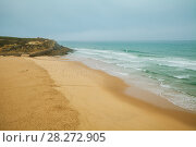 Panoramic view of Praia das Macas in the morning. Sintra, Portugal. Стоковое фото, фотограф Сергей Цепек / Фотобанк Лори