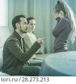 Купить «Parents lecturing daughter», фото № 28273213, снято 21 сентября 2018 г. (c) Яков Филимонов / Фотобанк Лори