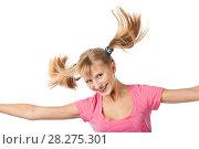 Купить «Девочка-подросток с забавными хвостиками», эксклюзивное фото № 28275301, снято 12 сентября 2010 г. (c) Давид Мзареулян / Фотобанк Лори