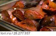 smoked fish on tray. Стоковое видео, видеограф Syda Productions / Фотобанк Лори