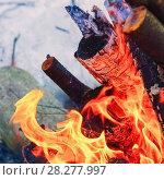 Купить «Flames on blue background», фото № 28277997, снято 9 марта 2018 г. (c) Алексей Маринченко / Фотобанк Лори