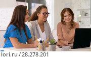 Купить «businesswomen having video conference at office», видеоролик № 28278201, снято 26 марта 2018 г. (c) Syda Productions / Фотобанк Лори