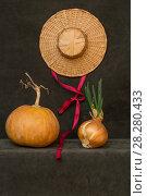 Купить «Натюрморт с тыквой, шляпой и проросшим луком», фото № 28280433, снято 9 апреля 2018 г. (c) V.Ivantsov / Фотобанк Лори
