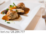 Купить «Ravioli in sauce dish», фото № 28284777, снято 12 декабря 2016 г. (c) Яков Филимонов / Фотобанк Лори