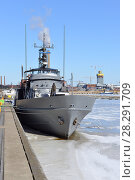 Купить «Vartiovene 55 (Patrol Boat 55). full-blooded warship, which has been built in Turku in 1959. Ship has original navy time exterior and engine room which can also be visited by clients», фото № 28291709, снято 26 марта 2018 г. (c) Валерия Попова / Фотобанк Лори