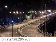 Купить «Ночной вид на Русский мост во Владивостоке. Русский мост. Дорога на остров Русский.», фото № 28296905, снято 2 октября 2012 г. (c) Ева Монт / Фотобанк Лори