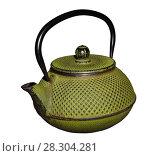 Green shabby vintage cast-iron patterned oriental teapot isolated on white background. Стоковое фото, фотограф Евгений Харитонов / Фотобанк Лори