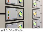 Купить «Fragment of an electrical control panel.», фото № 28304553, снято 9 декабря 2016 г. (c) Андрей Радченко / Фотобанк Лори