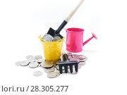 Купить «Полное ведро с деньгами и лопатой. Концепция денежного изобилия», фото № 28305277, снято 11 апреля 2018 г. (c) Наталья Осипова / Фотобанк Лори