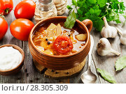 Cabbage soup with meat. Стоковое фото, фотограф Надежда Мишкова / Фотобанк Лори