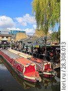 Купить «Camden Lock Market, Narrow Boats, Camden, London, England, United Kingdom, Europe», фото № 28308013, снято 2 апреля 2017 г. (c) age Fotostock / Фотобанк Лори