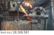 Купить «The blacksmith manually forging in the smithy», фото № 28308581, снято 17 июля 2018 г. (c) Константин Шишкин / Фотобанк Лори