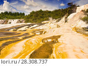 Купить «Colourful silica terrace formed by hot water algae growing in the geothermal area of Orakei Korako (The Hidden Valley), Northern Island, New Zealand», фото № 28308737, снято 26 мая 2019 г. (c) BE&W Photo / Фотобанк Лори