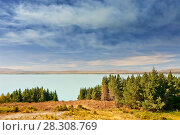 Купить «Milky blue water of Lake Pukaki, Southern Island, New Zealand», фото № 28308769, снято 19 апреля 2019 г. (c) BE&W Photo / Фотобанк Лори