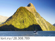 Купить «Mitre Peak in Milford Sound, one of New Zealand's most important tourist attractions and world famous for its natural beauty», фото № 28308789, снято 19 апреля 2019 г. (c) BE&W Photo / Фотобанк Лори