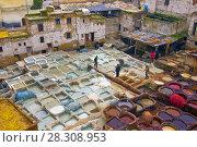 Купить «Traditional leather tanneries in the medina of Fez, Morocco, Africa», фото № 28308953, снято 19 января 2019 г. (c) BE&W Photo / Фотобанк Лори