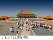 Купить «A lot of tourists visiting the Forbidden City Ming and Qing dynasty, Beijing China», фото № 28309065, снято 23 мая 2019 г. (c) BE&W Photo / Фотобанк Лори