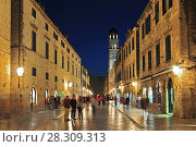 Купить «Night view at Stradun street in Dubrovnik town, Croatia», фото № 28309313, снято 16 июня 2019 г. (c) BE&W Photo / Фотобанк Лори