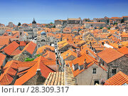 Купить «Elevated view of the town from the city walls, Dubrovnik, Dalmatia, Croatia, Europe», фото № 28309317, снято 26 июня 2019 г. (c) BE&W Photo / Фотобанк Лори