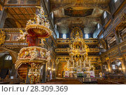 Купить «Interior of magnificently decorated wooden Protestant Church of Peace in Swidnica, UNESCO World Cultural Heritage, Poland», фото № 28309369, снято 29 марта 2020 г. (c) BE&W Photo / Фотобанк Лори