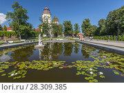 Купить «Pond and gardens at Baroque Ksiaz Castle, Hochbergs residence, Lower Silesia, Poland, Europe», фото № 28309385, снято 23 октября 2018 г. (c) BE&W Photo / Фотобанк Лори