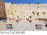 Купить «Western Wall (Wailing Wall) in Jewish Quarter, Old City, Jerusalem, Israel», фото № 28309481, снято 18 августа 2019 г. (c) BE&W Photo / Фотобанк Лори