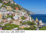 Купить «View of Positano, one of the most beautiful and touristic villages of Amalfi Coast, Italy», фото № 28309501, снято 20 сентября 2019 г. (c) BE&W Photo / Фотобанк Лори