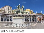 Купить «Bronze statue of King Ferdinand I of Bourbon in Piazza del Plebiscito in Naples, Italy», фото № 28309529, снято 25 мая 2019 г. (c) BE&W Photo / Фотобанк Лори