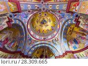 Купить «Interior of the Greek Orthodox Church of the Twelve Apostles in Capernaum by the Sea of Galilee (Lake Tiberias), Israel, Middle East», фото № 28309665, снято 17 августа 2018 г. (c) BE&W Photo / Фотобанк Лори