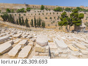 Купить «View from the Mount of Olives over the tombs of the Jewish cemetery, Jerusalem, Israel», фото № 28309693, снято 17 августа 2018 г. (c) BE&W Photo / Фотобанк Лори