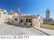 Купить «View on the old street and Greek Byzantine Catholic Church in Bethlehem. Palestinian territories. Israel.», фото № 28309717, снято 25 июня 2019 г. (c) BE&W Photo / Фотобанк Лори