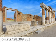 Купить «Ancient columns ruins after the eruption of Vesuvius in Pompeii, Italy», фото № 28309853, снято 19 июля 2018 г. (c) BE&W Photo / Фотобанк Лори