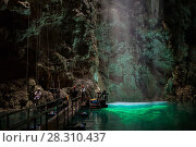 Купить «Light shining into Abismo Anhumas or Anhumas Abyss with tourists. This is a 80 metre deep lake, at the bottom of a 72 metre deep cave. Bonito area, Serra da Bodoquena (Bodoquena Mountain Range), Mato Grosso do Sul, Brazil, November 2017. Photographed for The Freshwater Project», фото № 28310437, снято 19 апреля 2018 г. (c) Nature Picture Library / Фотобанк Лори