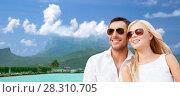 Купить «happy couple on over bora bora background», фото № 28310705, снято 14 июля 2013 г. (c) Syda Productions / Фотобанк Лори