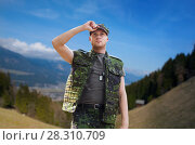Купить «soldier in military uniform outdoors», фото № 28310709, снято 14 августа 2014 г. (c) Syda Productions / Фотобанк Лори