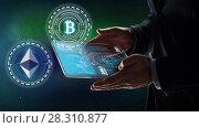 Купить «businessman with tablet pc and cryptocurrency», фото № 28310877, снято 6 сентября 2016 г. (c) Syda Productions / Фотобанк Лори