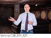 Купить «Сonfident winemaker inviting to wine cellar, demonstrating bottles with aging wine on racks», фото № 28311321, снято 22 января 2018 г. (c) Яков Филимонов / Фотобанк Лори