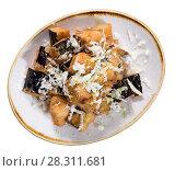 Купить «Diced eggplants with honey, lime and goat cheese», фото № 28311681, снято 7 марта 2018 г. (c) Яков Филимонов / Фотобанк Лори