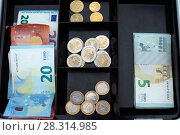 Купить «Money in a cashbox. Euros. France.», фото № 28314985, снято 21 февраля 2019 г. (c) age Fotostock / Фотобанк Лори