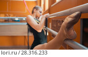 Купить «Young woman gymnast doing stretching leg on barre in a studio», фото № 28316233, снято 20 апреля 2018 г. (c) Константин Шишкин / Фотобанк Лори
