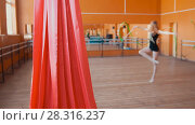 Купить «Red silk in front of young woman training a gymnastics exercise with a ribbon», фото № 28316237, снято 20 апреля 2018 г. (c) Константин Шишкин / Фотобанк Лори