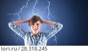Купить «Lightning strikes and stressed woman with headache holding head», фото № 28318245, снято 18 июля 2018 г. (c) Wavebreak Media / Фотобанк Лори