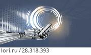 Купить «Robot android hand with phone and Glowing circle technology interface», фото № 28318393, снято 21 марта 2019 г. (c) Wavebreak Media / Фотобанк Лори