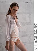 Купить «Pretty brunette in romantic lingerie cropped shot», фото № 28322997, снято 4 апреля 2018 г. (c) Гурьянов Андрей / Фотобанк Лори