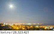 Sunset city zoom in timelapse. Стоковое видео, видеограф Кирилл Трифонов / Фотобанк Лори