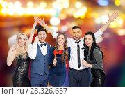 Купить «happy friends with party props posing», фото № 28326657, снято 3 марта 2018 г. (c) Syda Productions / Фотобанк Лори