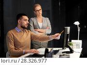 Купить «business team with computer working late at office», фото № 28326977, снято 26 ноября 2017 г. (c) Syda Productions / Фотобанк Лори