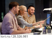 Купить «business team with computer working late at office», фото № 28326981, снято 26 ноября 2017 г. (c) Syda Productions / Фотобанк Лори